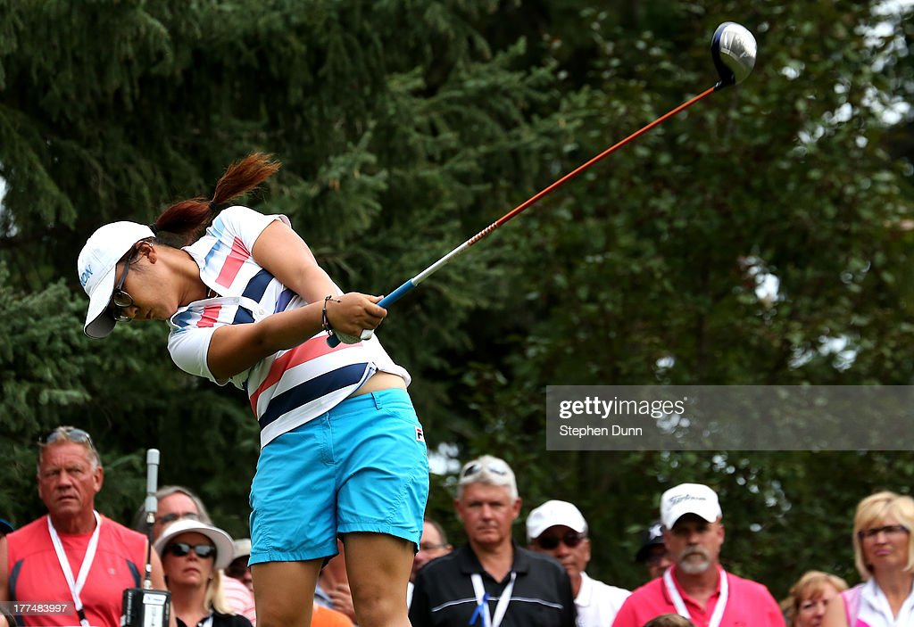 <a gi-track='captionPersonalityLinkClicked' href=/galleries/search?phrase=Lydia+Ko&family=editorial&specificpeople=5817103 ng-click='$event.stopPropagation()'>Lydia Ko</a> of New Zealand hits her tee shot on the 14th hole during the second round of the CN Canadian Women's Open at Royal Mayfair Golf Club on August 23, 2013 in Edmonton, Alberta, Canada.