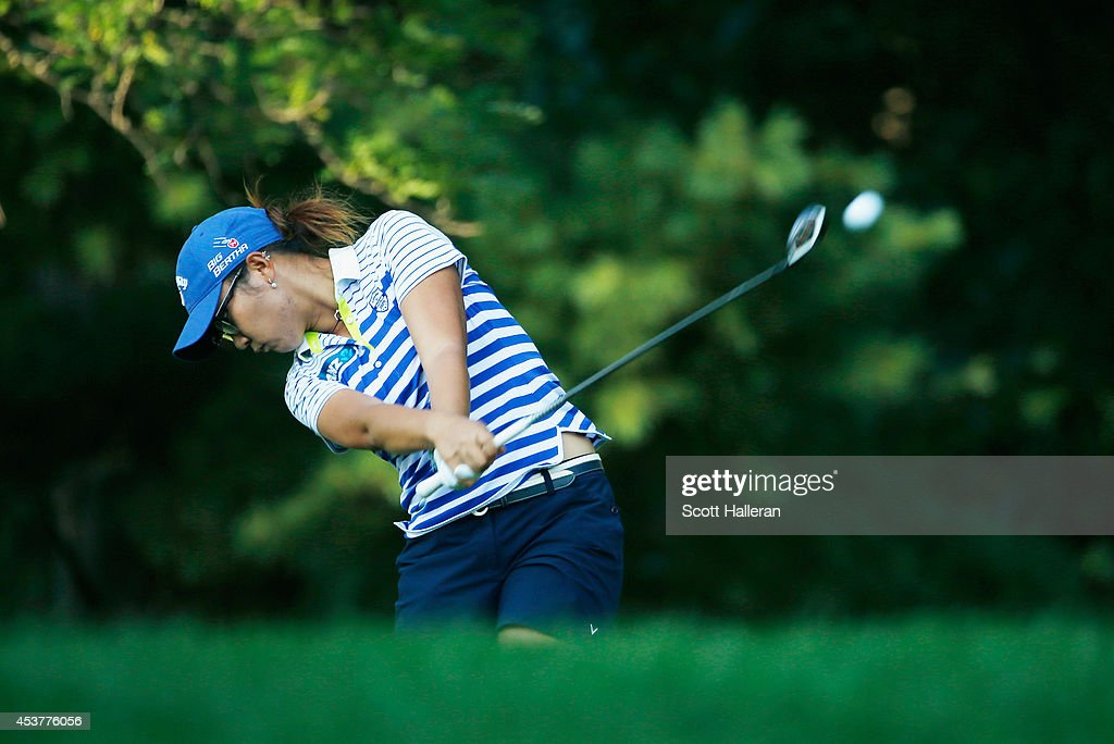 <a gi-track='captionPersonalityLinkClicked' href=/galleries/search?phrase=Lydia+Ko&family=editorial&specificpeople=5817103 ng-click='$event.stopPropagation()'>Lydia Ko</a> of New Zealand hits her tee shot on the 16th hole during the final round of the Wegmans LPGA Championship at Monroe Golf Club on August 17, 2014 in Pittsford, New York.