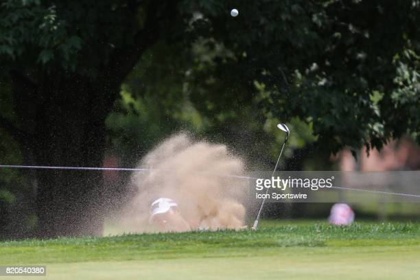 Lydia Ko of New Zealand hits out of a sand trap on the No 5 fairway during the second round of the LPGA Marathon Classic presented by Owens Corning...