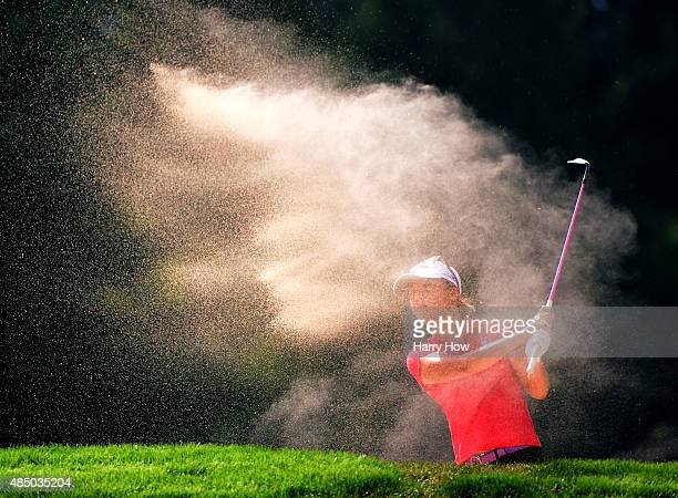 Lydia Ko of New Zealand hits out of the bunker on the fourth hole during the final round of the Canadian Pacific Women's Open at the Vancouver Golf...