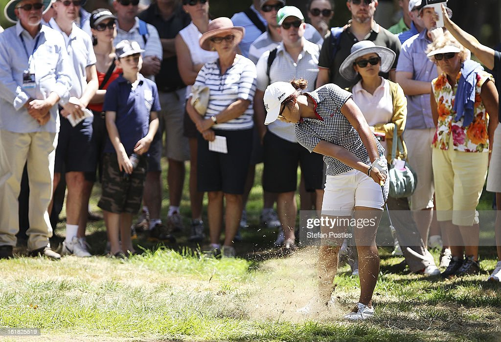 <a gi-track='captionPersonalityLinkClicked' href=/galleries/search?phrase=Lydia+Ko&family=editorial&specificpeople=5817103 ng-click='$event.stopPropagation()'>Lydia Ko</a> of New Zealand hits out of the rough on the 1st hole during day four of the ISPS Handa Australian Open at Royal Canberra Golf Club on February 17, 2013 in Canberra, Australia.