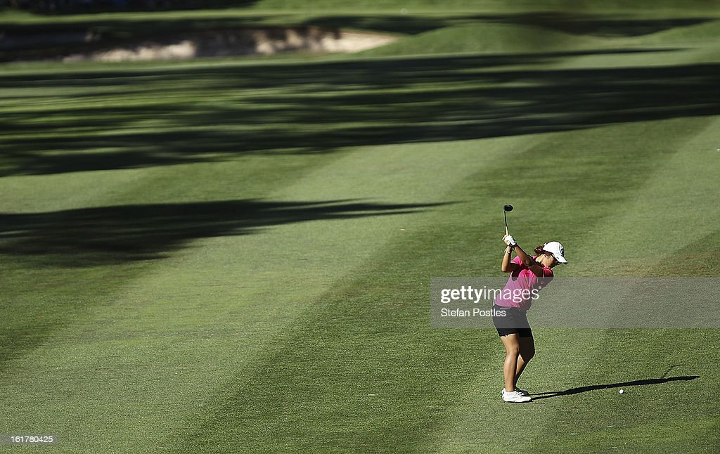 Lydia Ko of New Zealand hits up the 15th fairway during day three of the ISPS Handa Australian Open at Royal Canberra Golf Club on February 16, 2013 in Canberra, Australia.
