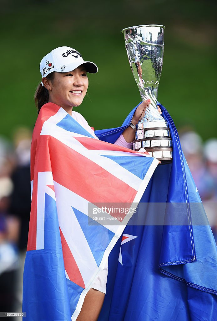 Lydia Ko of New Zealand holds the trophy after winning the Evian Championship Golf on September 13, 2015 in Evian-les-Bains, France.