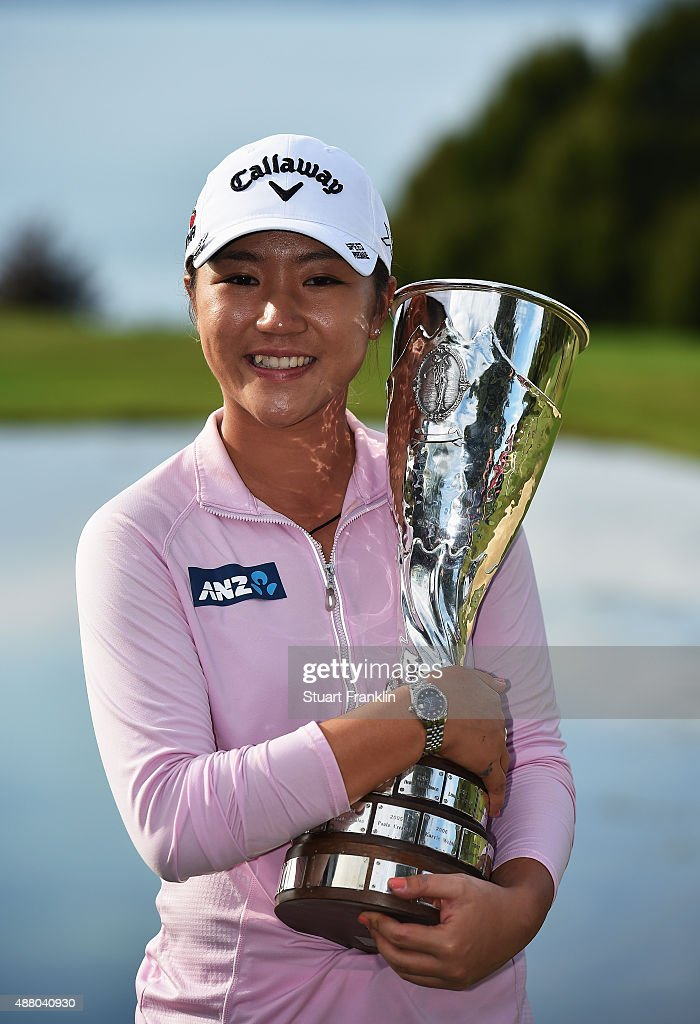 <a gi-track='captionPersonalityLinkClicked' href=/galleries/search?phrase=Lydia+Ko&family=editorial&specificpeople=5817103 ng-click='$event.stopPropagation()'>Lydia Ko</a> of New Zealand holds the trophy after winning the Evian Championship Golf on September 13, 2015 in Evian-les-Bains, France.