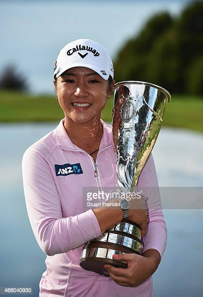 Lydia Ko of New Zealand holds the trophy after winning the Evian Championship Golf on September 13 2015 in EvianlesBains France
