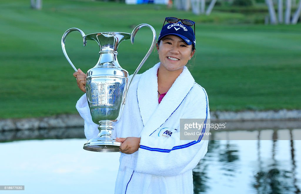 Lydia Ko of New Zealand holds thr trophy after the final round of the 2016 ANA Inspiration at the Mission Hills Country Club on April 3, 2016 in Rancho Mirage, California.