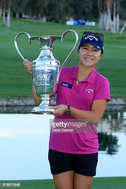 Lydia Ko of New Zealand holds thr trophy after the final round of the 2016 ANA Inspiration at the Mission Hills Country Club on April 3 2016 in...