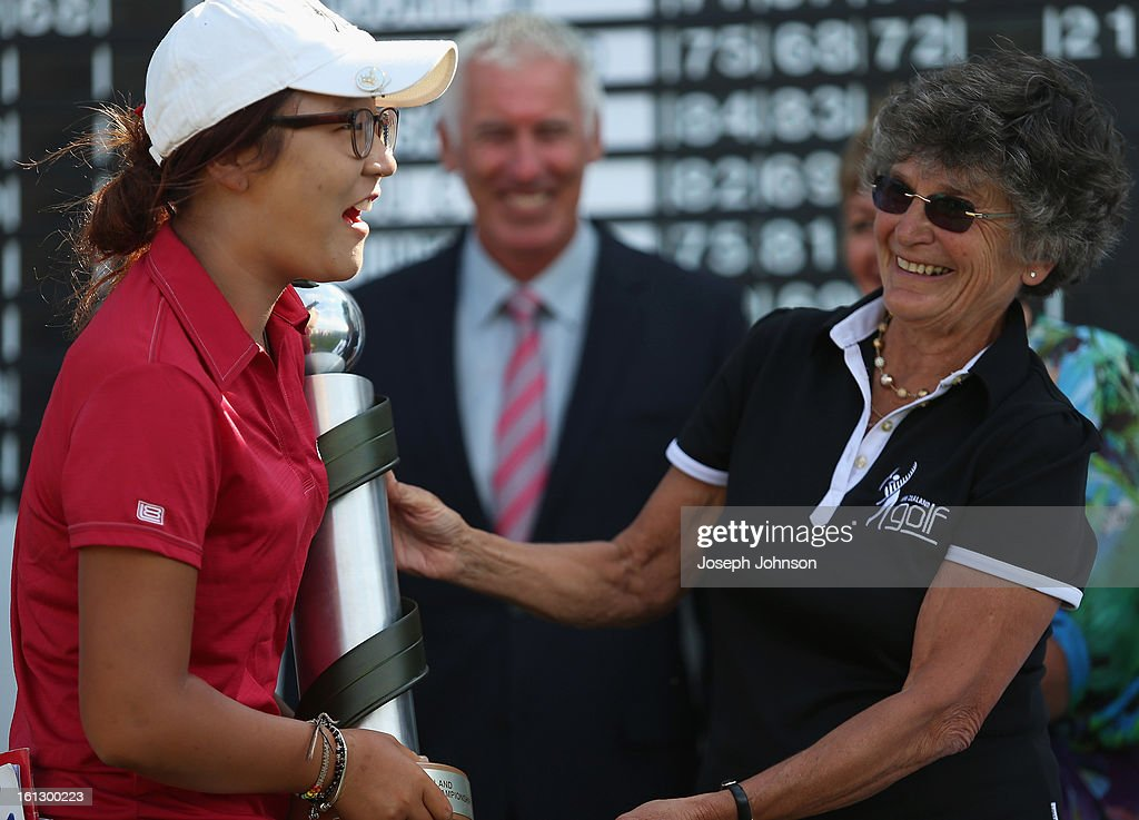 <a gi-track='captionPersonalityLinkClicked' href=/galleries/search?phrase=Lydia+Ko&family=editorial&specificpeople=5817103 ng-click='$event.stopPropagation()'>Lydia Ko</a> of New Zealand is presented the NZ Women's Open trophy by Patsy Hankins, New Zealand Golf President, after winning the New Zealand Women's Golf Open at Clearwater Golf Course on February 10, 2013 in Christchurch, New Zealand.