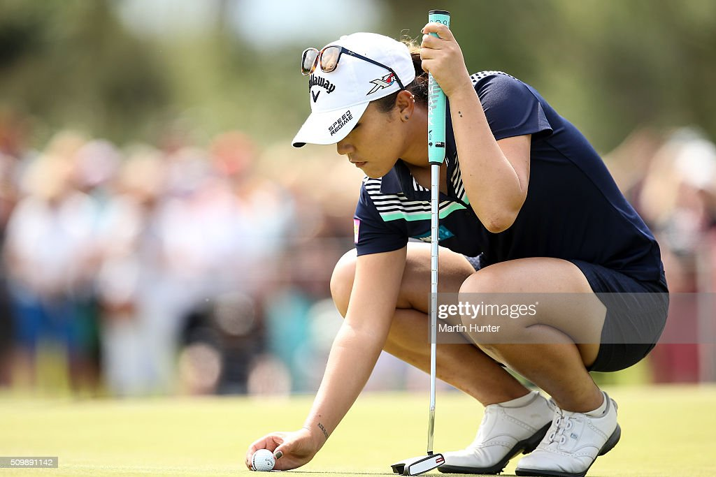 <a gi-track='captionPersonalityLinkClicked' href=/galleries/search?phrase=Lydia+Ko&family=editorial&specificpeople=5817103 ng-click='$event.stopPropagation()'>Lydia Ko</a> of New Zealand lines up a putt on the 9th during the 2nd round of the New Zealand Women's Open at Clearwater Golf Club on February 13, 2016 in Christchurch, New Zealand.