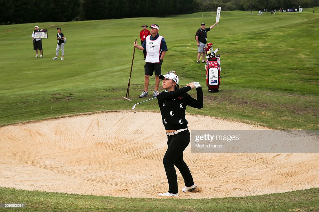 <a gi-track='captionPersonalityLinkClicked' href=/galleries/search?phrase=Lydia+Ko&family=editorial&specificpeople=5817103 ng-click='$event.stopPropagation()'>Lydia Ko</a> of New Zealand plays a bunker shot during the 1st round of the New Zealand Women's Open at Clearwater Golf Club on February 12, 2016 in Christchurch, New Zealand.