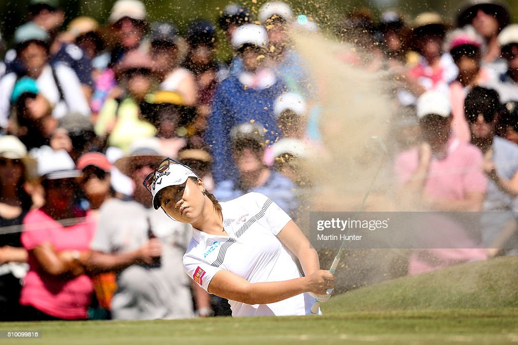 <a gi-track='captionPersonalityLinkClicked' href=/galleries/search?phrase=Lydia+Ko&family=editorial&specificpeople=5817103 ng-click='$event.stopPropagation()'>Lydia Ko</a> of New Zealand plays a bunker shot from the 3rd hole during the 3rd round of the New Zealand Women's Open at Clearwater Golf Club on February 14, 2016 in Christchurch, New Zealand.