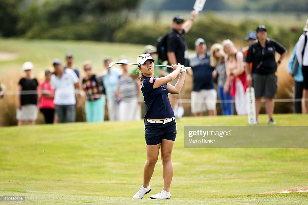 <a gi-track='captionPersonalityLinkClicked' href=/galleries/search?phrase=Lydia+Ko&family=editorial&specificpeople=5817103 ng-click='$event.stopPropagation()'>Lydia Ko</a> of New Zealand plays a fairway shot on the 7th hole during the 2nd round of the New Zealand Women's Open at Clearwater Golf Club on February 13, 2016 in Christchurch, New Zealand.