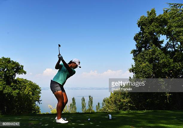 Lydia Ko of New Zealand plays a shot during practice prior to the start of the Evian Championship Golf on September 14 2016 in EvianlesBains France