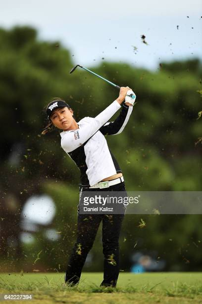 Lydia Ko of New Zealand plays a shot during round two of the ISPS Handa Women's Australian Open at Royal Adelaide Golf Club on February 17 2017 in...