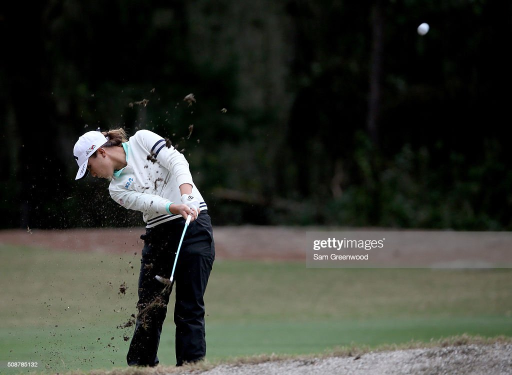 Lydia Ko of New Zealand plays a shot on the first hole during the final round of the Coates Golf Championship Presented By R+L Carriers at Golden Ocala Golf Club on February 6, 2016 in Ocala, Florida.