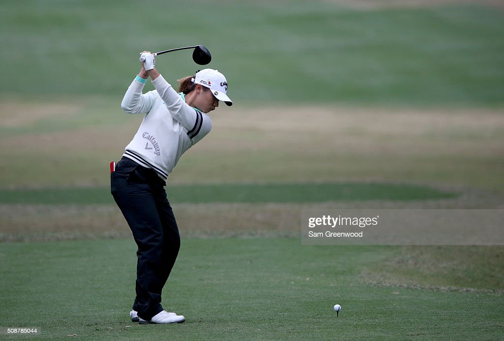 <a gi-track='captionPersonalityLinkClicked' href=/galleries/search?phrase=Lydia+Ko&family=editorial&specificpeople=5817103 ng-click='$event.stopPropagation()'>Lydia Ko</a> of New Zealand plays a shot on the second hole during the final round of the Coates Golf Championship Presented By R+L Carriers at Golden Ocala Golf Club on February 6, 2016 in Ocala, Florida.