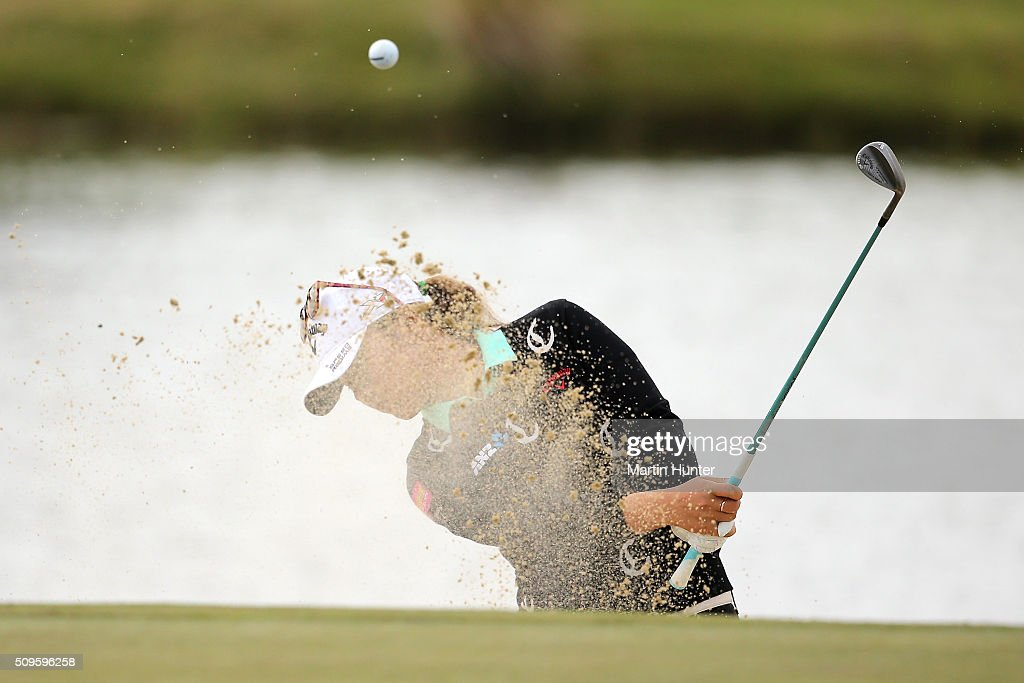 <a gi-track='captionPersonalityLinkClicked' href=/galleries/search?phrase=Lydia+Ko&family=editorial&specificpeople=5817103 ng-click='$event.stopPropagation()'>Lydia Ko</a> of New Zealand plays a shot out of a bunker during the 1st round of the New Zealand Women's Open at Clearwater Golf Club on February 12, 2016 in Christchurch, New Zealand.