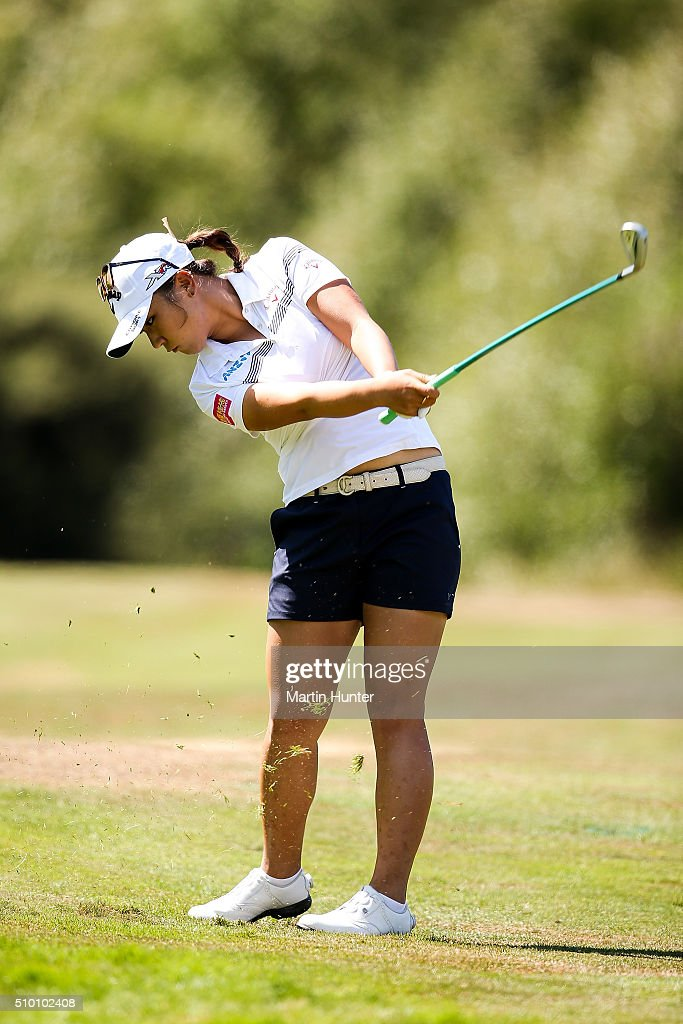 <a gi-track='captionPersonalityLinkClicked' href=/galleries/search?phrase=Lydia+Ko&family=editorial&specificpeople=5817103 ng-click='$event.stopPropagation()'>Lydia Ko</a> of New Zealand plays her approach shot on the 1st hole during the 3rd round of the New Zealand Women's Open at Clearwater Golf Club on February 14, 2016 in Christchurch, New Zealand.