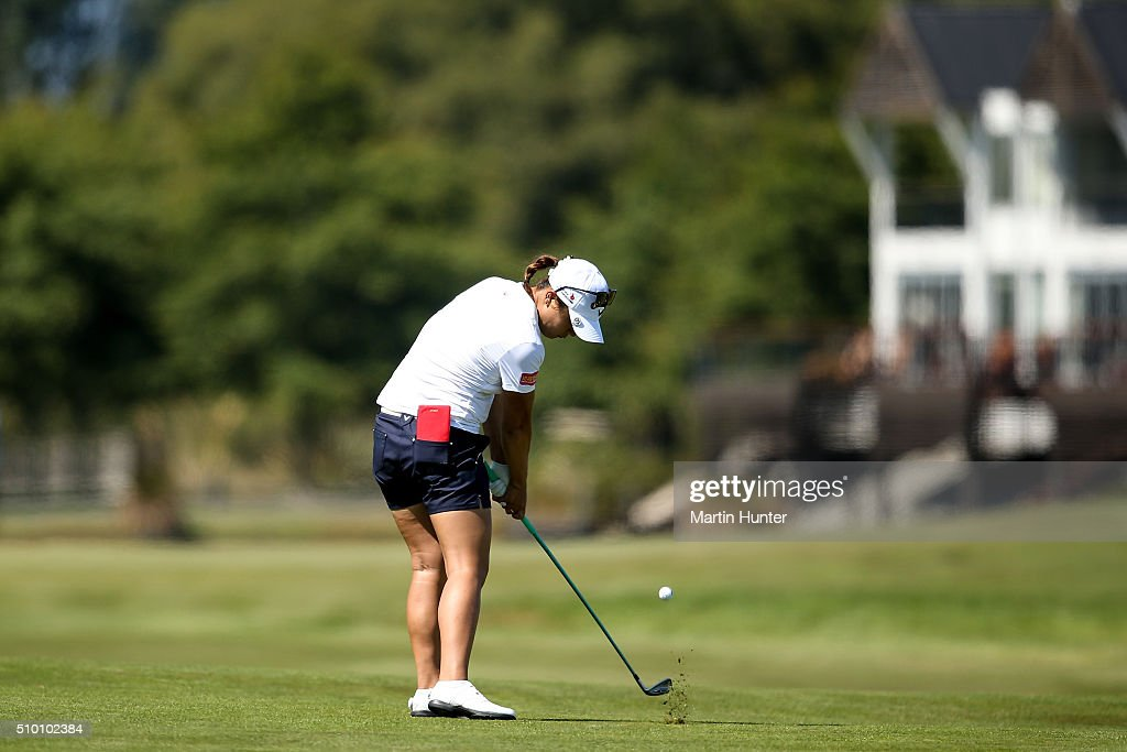 <a gi-track='captionPersonalityLinkClicked' href=/galleries/search?phrase=Lydia+Ko&family=editorial&specificpeople=5817103 ng-click='$event.stopPropagation()'>Lydia Ko</a> of New Zealand plays her approach shot on the 8th hole during the 3rd round of the New Zealand Women's Open at Clearwater Golf Club on February 14, 2016 in Christchurch, New Zealand.