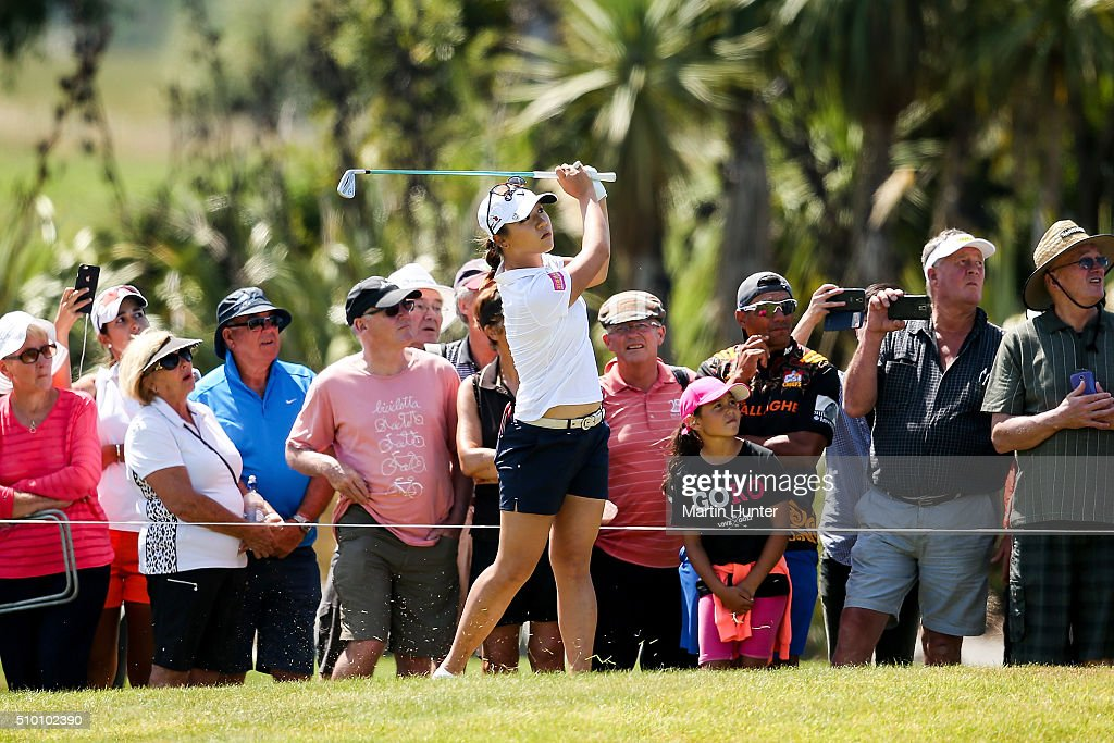 <a gi-track='captionPersonalityLinkClicked' href=/galleries/search?phrase=Lydia+Ko&family=editorial&specificpeople=5817103 ng-click='$event.stopPropagation()'>Lydia Ko</a> of New Zealand plays her fairway shot on the 6th hole during the 3rd round of the New Zealand Women's Open at Clearwater Golf Club on February 14, 2016 in Christchurch, New Zealand.