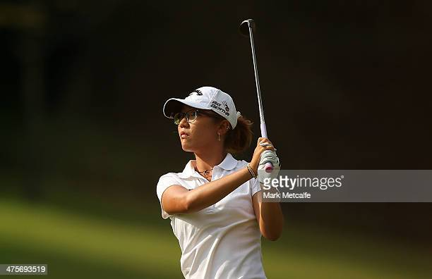 Lydia Ko of New Zealand plays her second shot on the first hole during the third round of the HSBC Women's Champions at the Sentosa Golf Club on...