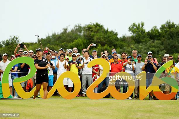 Lydia Ko of New Zealand plays her shot from the 16th tee during the Women's Golf Final on Day 15 of the Rio 2016 Olympic Games at the Olympic Golf...