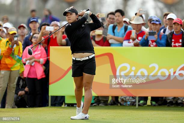Lydia Ko of New Zealand plays her shot from the first tee during the Women's Golf Final on Day 15 of the Rio 2016 Olympic Games at the Olympic Golf...