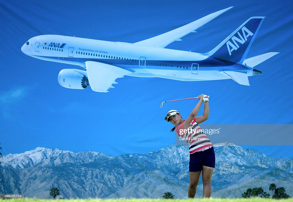 Lydia Ko of New Zealand plays her tee shot at the par 3, 8th hole during the first round of the ANA Inspiration on the Dinah Shore Tournament Course at Mission Hills Country Club on April 2, 2015 in Rancho Mirage, California.