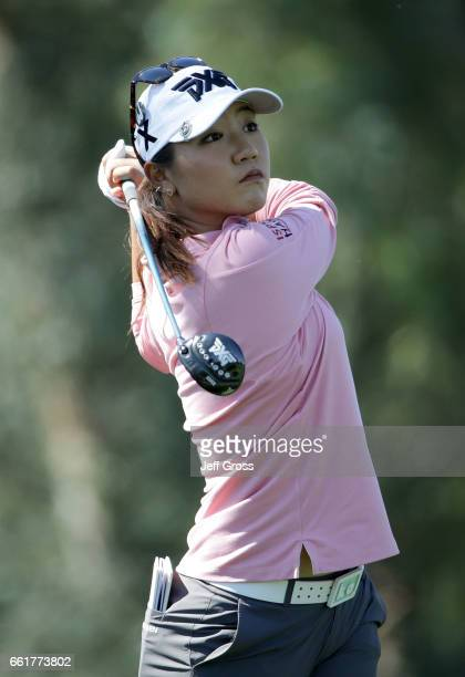 Lydia Ko of New Zealand plays her tee shot on the sixth hole during the completion of the first round of the ANA Inspiration at the Dinah Shore...