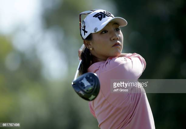 Lydia Ko of New Zealand plays her tee shot on the third hole during the completion of the first round of the ANA Inspiration at the Dinah Shore...