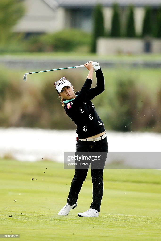 <a gi-track='captionPersonalityLinkClicked' href=/galleries/search?phrase=Lydia+Ko&family=editorial&specificpeople=5817103 ng-click='$event.stopPropagation()'>Lydia Ko</a> of New Zealand plays his approach shot during the 1st round of the New Zealand Women's Open at Clearwater Golf Club on February 12, 2016 in Christchurch, New Zealand.