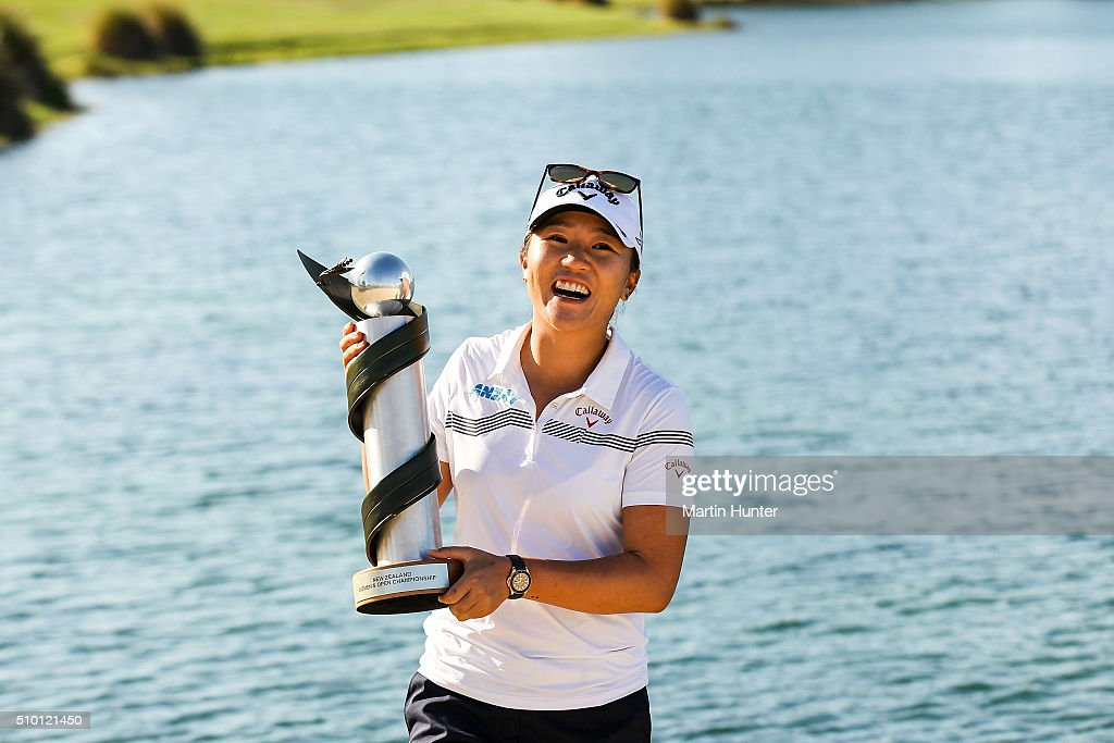 <a gi-track='captionPersonalityLinkClicked' href=/galleries/search?phrase=Lydia+Ko&family=editorial&specificpeople=5817103 ng-click='$event.stopPropagation()'>Lydia Ko</a> of New Zealand poses with the New Zealand Women's Open trophy after winning the New Zealand Women's Open at Clearwater Golf Club on February 14, 2016 in Christchurch, New Zealand.