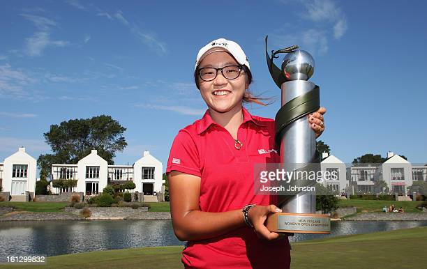 Lydia Ko of New Zealand poses with the NZ Women's Open trophy after winning the New Zealand Women's Golf Open at Clearwater Golf Course on February...
