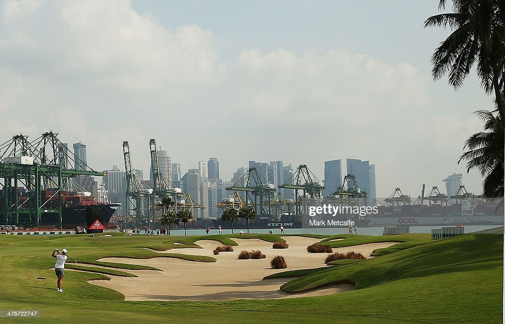 Lydia Ko of New Zealand prepares to play an approach shot on the fifth hole during the third round of the HSBC Women's Champions at the Sentosa Golf...