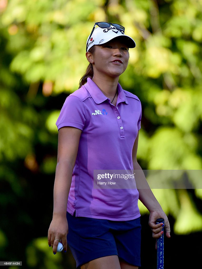 Lydia Ko of New Zealand reacts to her par on the 16th green during the third round of the Canadian Pacific Women's Open at the Vancouver Golf Club on August 22, 2015 in Vancouver, Canada.