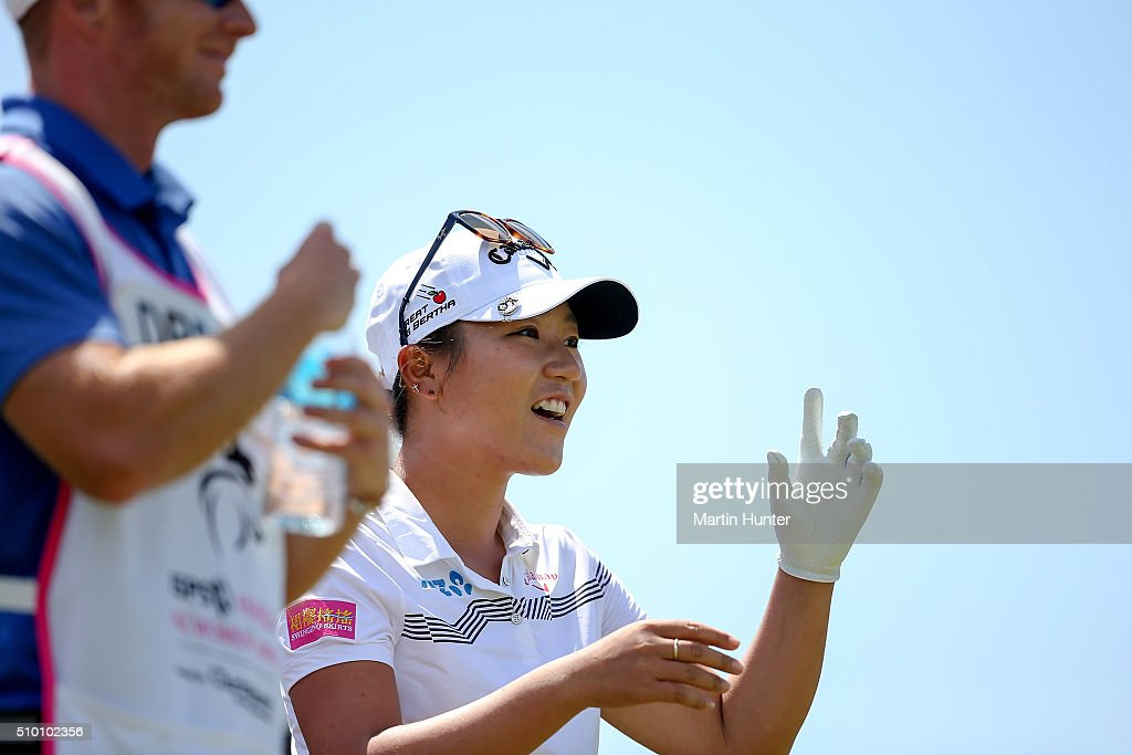 <a gi-track='captionPersonalityLinkClicked' href=/galleries/search?phrase=Lydia+Ko&family=editorial&specificpeople=5817103 ng-click='$event.stopPropagation()'>Lydia Ko</a> of New Zealand reacts to the fans during the 3rd round of the New Zealand Women's Open at Clearwater Golf Club on February 14, 2016 in Christchurch, New Zealand.