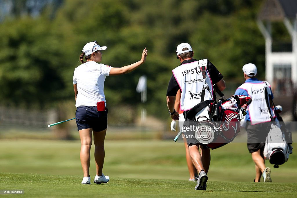<a gi-track='captionPersonalityLinkClicked' href=/galleries/search?phrase=Lydia+Ko&family=editorial&specificpeople=5817103 ng-click='$event.stopPropagation()'>Lydia Ko</a> of New Zealand reacts to the fans on the 8th hole during the 3rd round of the New Zealand Women's Open at Clearwater Golf Club on February 14, 2016 in Christchurch, New Zealand.