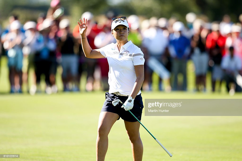 <a gi-track='captionPersonalityLinkClicked' href=/galleries/search?phrase=Lydia+Ko&family=editorial&specificpeople=5817103 ng-click='$event.stopPropagation()'>Lydia Ko</a> of New Zealand reacts to the fans on the18th hole during the New Zealand Women's Open at Clearwater Golf Club on February 14, 2016 in Christchurch, New Zealand.