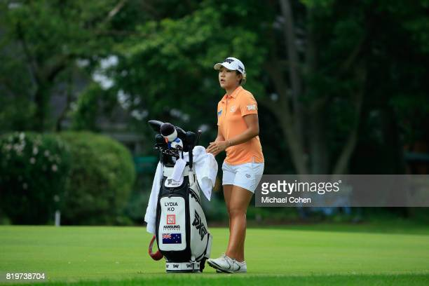Lydia Ko of New Zealand stands by her golf bag on the 15th hole during the first round of the Marathon Classic Presented By Owens Corning And OI held...