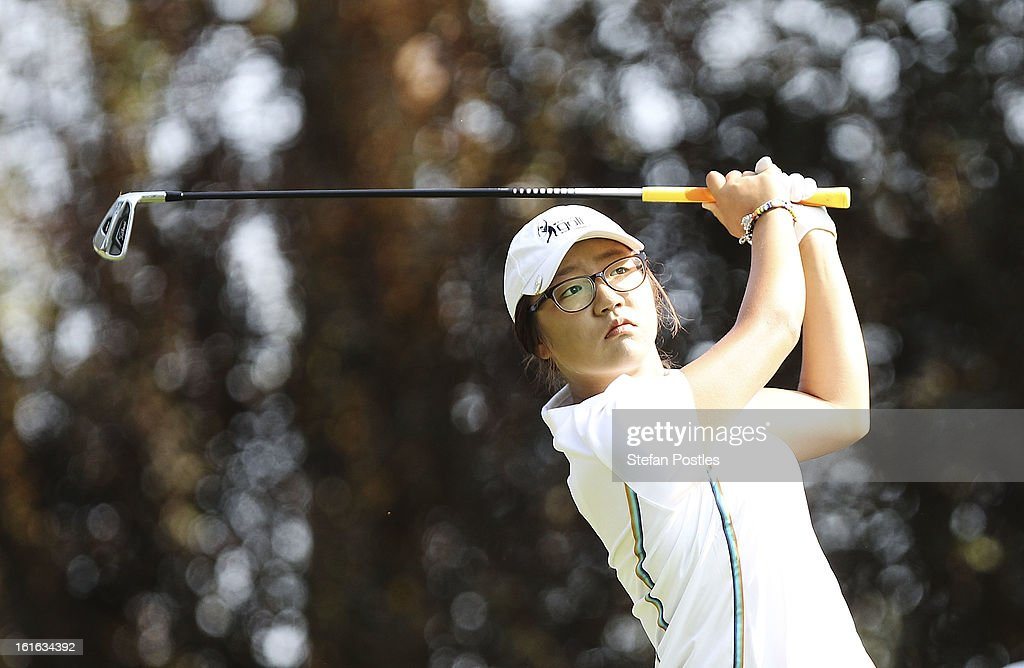 Lydia Ko of New Zealand tee's off during day one of the ISPS Handa Australian Open at Royal Canberra Golf Club on February 14, 2013 in Canberra, Australia.
