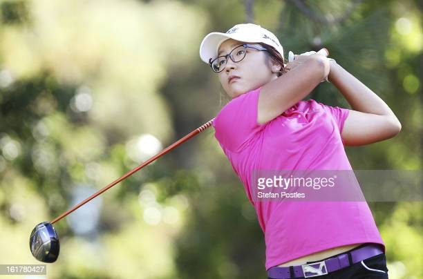 Lydia Ko of New Zealand tee's off during day three of the ISPS Handa Australian Open at Royal Canberra Golf Club on February 16 2013 in Canberra...