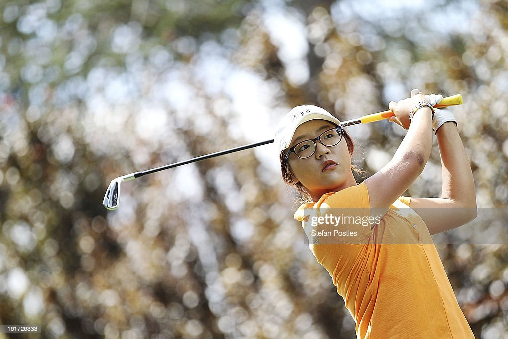 <a gi-track='captionPersonalityLinkClicked' href=/galleries/search?phrase=Lydia+Ko&family=editorial&specificpeople=5817103 ng-click='$event.stopPropagation()'>Lydia Ko</a> of New Zealand tee's off during day two of the ISPS Handa Australian Open at Royal Canberra Golf Club on February 15, 2013 in Canberra, Australia.