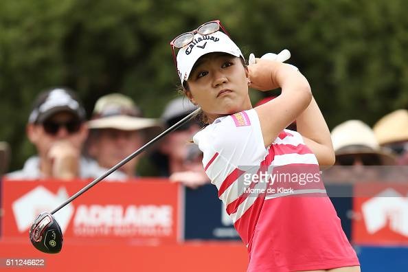 Lydia Ko of New Zealand tees off during day two of the ISPS Handa Women's Australian Open at The Grange GC on February 19 2016 in Adelaide Australia