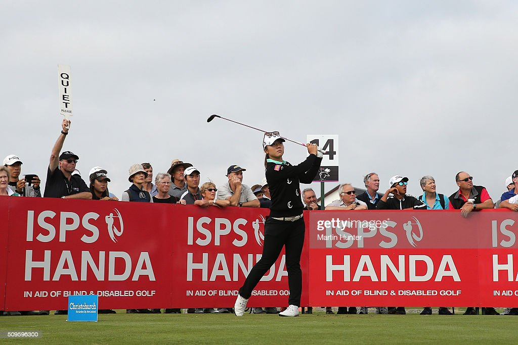 <a gi-track='captionPersonalityLinkClicked' href=/galleries/search?phrase=Lydia+Ko&family=editorial&specificpeople=5817103 ng-click='$event.stopPropagation()'>Lydia Ko</a> of New Zealand tees off during the 1st round of the during the 1st round of the New Zealand Women's Open at Clearwater Golf Club on February 12, 2016 in Christchurch, New Zealand.