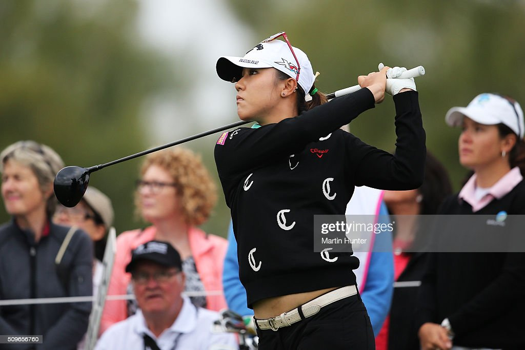 Lydia Ko of New Zealand tees off during the 1st round of the New Zealand Women's Open at Clearwater Golf Club on February 12, 2016 in Christchurch, New Zealand.