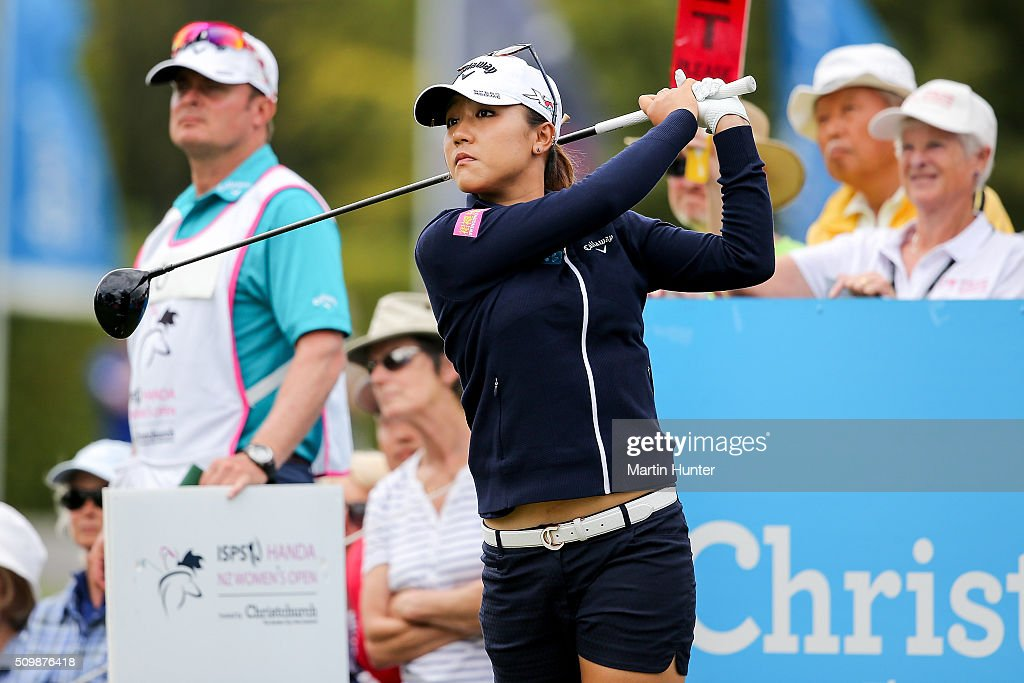<a gi-track='captionPersonalityLinkClicked' href=/galleries/search?phrase=Lydia+Ko&family=editorial&specificpeople=5817103 ng-click='$event.stopPropagation()'>Lydia Ko</a> of New Zealand tees off during the 2nd round of the New Zealand Women's Open at Clearwater Golf Club on February 13, 2016 in Christchurch, New Zealand.