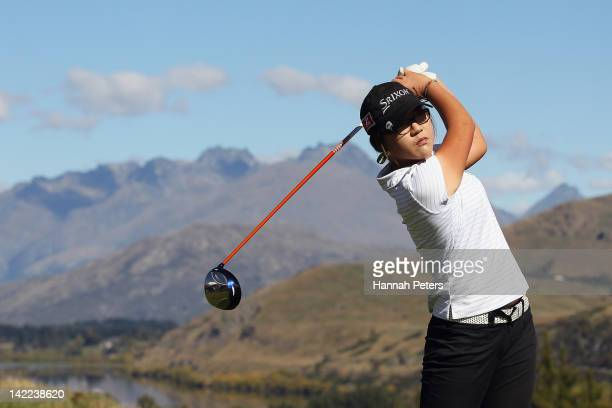 Lydia Ko of New Zealand tees off on day four of the New Zealand PGA ProAm at The Hills Golf Club on April 01 2012 in Queenstown New Zealand