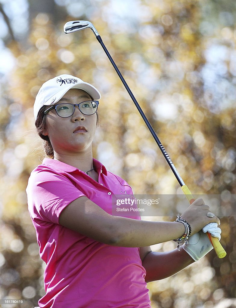 Lydia Ko of New Zealand tee's off on the par 3 13th during day three of the ISPS Handa Australian Open at Royal Canberra Golf Club on February 16, 2013 in Canberra, Australia.