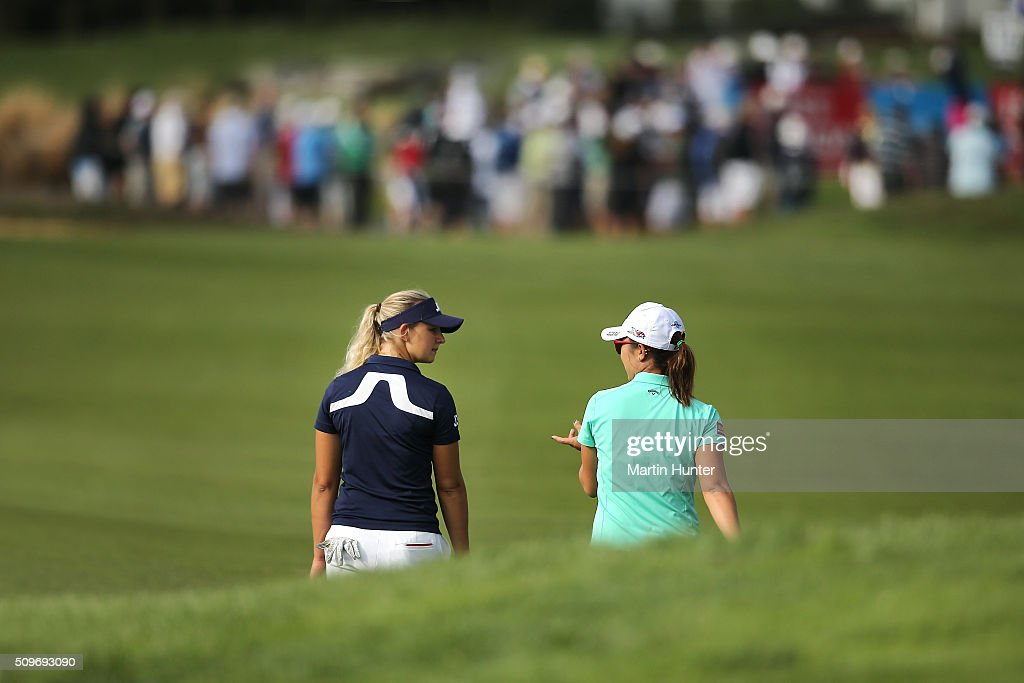 <a gi-track='captionPersonalityLinkClicked' href=/galleries/search?phrase=Lydia+Ko&family=editorial&specificpeople=5817103 ng-click='$event.stopPropagation()'>Lydia Ko</a> (R) of New Zealand walks the 15th fairway with Emily Pedersen (L) of Denmark during the 1st round of the New Zealand Women's Open at Clearwater Golf Club on February 12, 2016 in Christchurch, New Zealand.