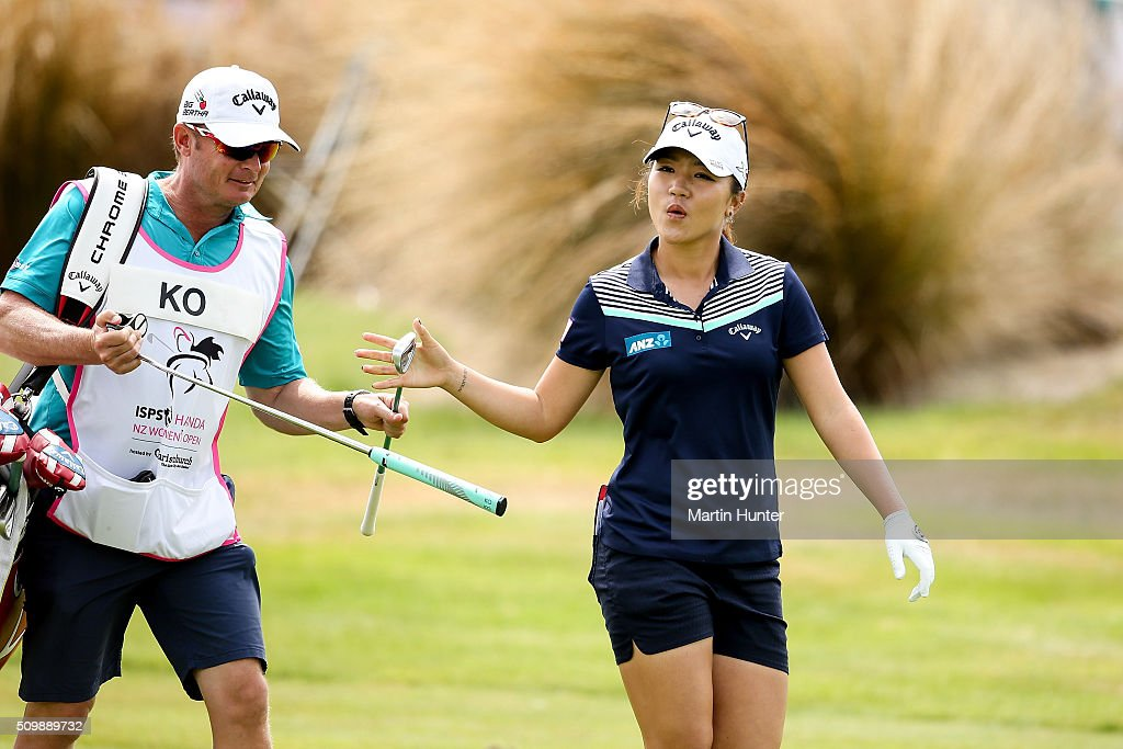 <a gi-track='captionPersonalityLinkClicked' href=/galleries/search?phrase=Lydia+Ko&family=editorial&specificpeople=5817103 ng-click='$event.stopPropagation()'>Lydia Ko</a> of New Zealand walks the fairway with her caddie during the 2nd round of the New Zealand Women's Open at Clearwater Golf Club on February 13, 2016 in Christchurch, New Zealand.